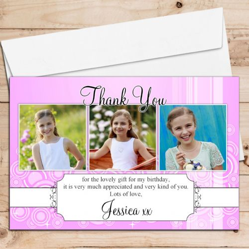 10 Personalised Birthday Christening Thank you PHOTO Cards N95